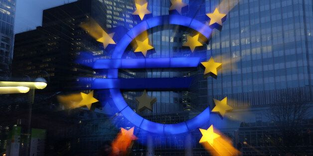 FRANKFURT AM MAIN, GERMANY - JANUARY 21: The symbol of the Euro, the currency of the Eurozone, stands...