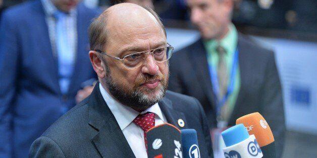 BRUSSELS, BELGIUM -DECEMBER 18: European Parliament President Martin Schulz arrives for the European...