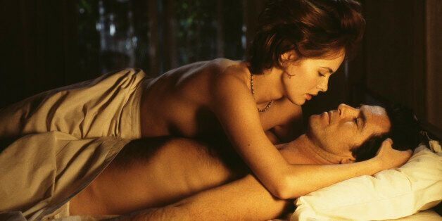 Polish actress Izabella Scorupco films a love scene with Irish actor Pierce Brosnan for the James Bond...