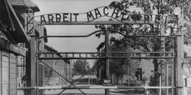 Undated file photo shows the main gate of the Nazi concentration camp Auschwitz, in Poland, which was...