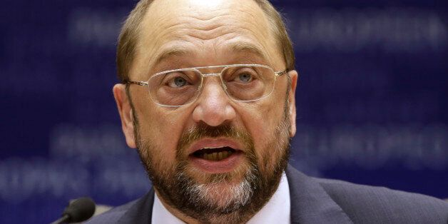 European Parliament President Martin Schulz addresses the members of the European Parliament to commemorate...