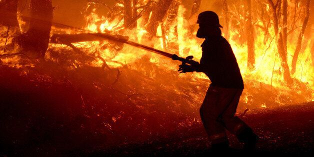 ADELAIDE HILLS - JANUARY 2, 2015: (EUROPE AND AUSTRALASIA OUT) MFS fire crews fight a bushfire on Wattle...