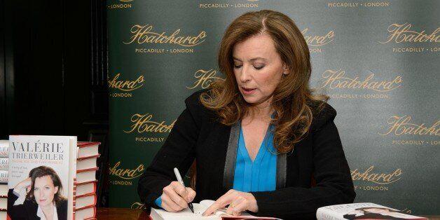 Former partner of French President Francois Hollande, Valerie Trierweiler, is pictured at Hatchards bookshop...