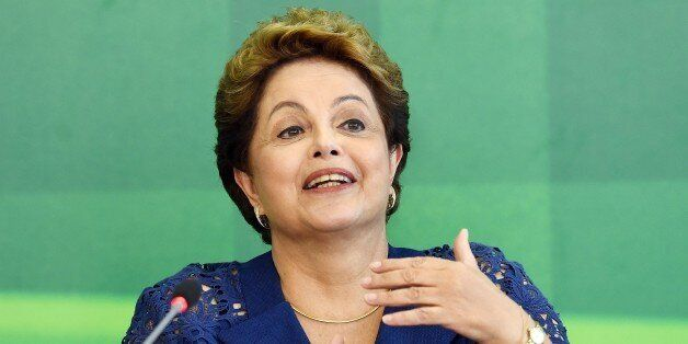 Brazilian President Dilma Rousseff attends a breakfast with journalists at Planalto Palace in Brasilia,...