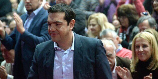 ATHENS, GREECE - 2015/01/03: Alexis Tsipras moves to the podium to begin his speech. Alexis Tsipras the...