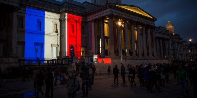 LONDON, ENGLAND - JANUARY 11: The National Gallery is lit in the blue, white and red colours of the national...