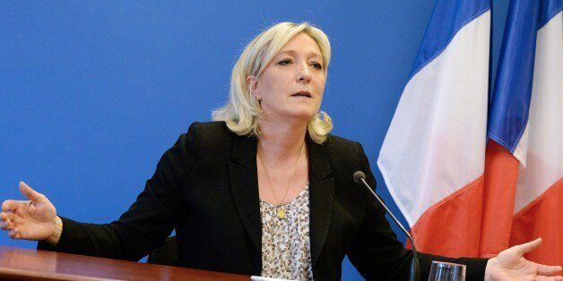 French far-right Front National party's president Marine le Pen gives a press conference on March 25,...