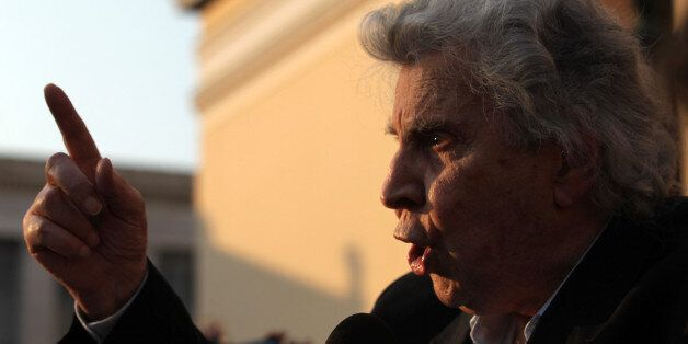 ATHENS, GREECE - MAY 31: Greek composer, 85-year-old Mikis Theodorakis addresses the crowd at a demonstration...