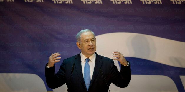 Israel's Prime Minister Benjamin Netanyahu delivers a statment after wining his hard-line Likud party...