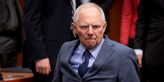 German Finance Minister Wolfgang Schaeuble arrives for a meeting of the eurogroup finance ministers at...