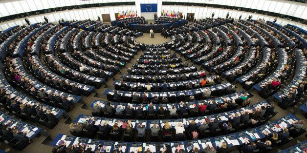 CORRECTS FROM EUROPEAN COUNCIL TO EUROPEAN PARLIAMENT - In this photo provided by Vatican newspaper L'Osservatore...