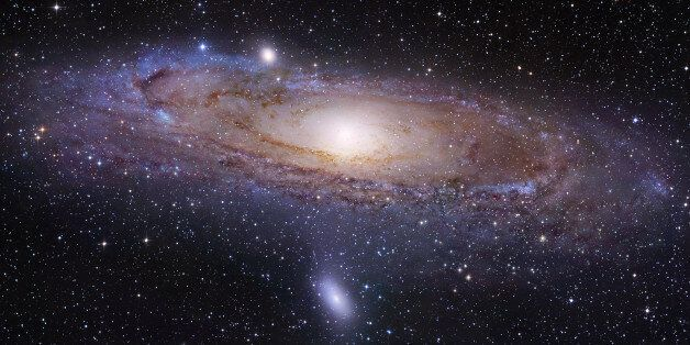 This undated image provided by the University of Utah shows the Andromeda galaxy, made by the Hubble...
