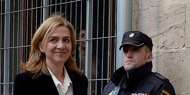 Spain's Princess Cristina arrives at the courthouse of Palma de Mallorca in Palma Mallorca, Spain, Saturday,...