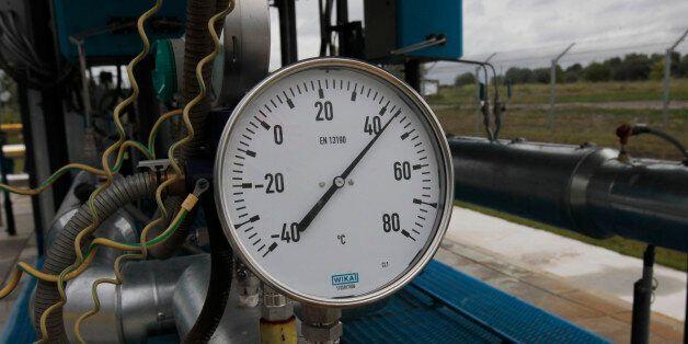 A gas pressure gauge in the boosting compressor station ''East-Poltava'' near the village of Kovalivka,...
