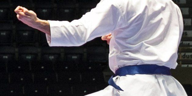 Damian Quintero of Spain in action during the finals of the men's Kata, at the Karate European Championship,...