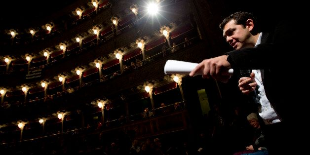 Greek leftwing opposition leader Alexis Tsipras delivers his speech during a meeting with Italian leftwing...