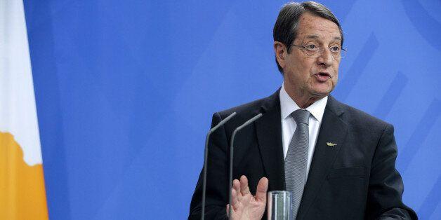 BERLIN, GERMANY - MAY 6: Cyprus President Nikos Anastasiadis speaks to the media following talks at the...