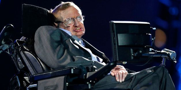 British physicist, Professor Stephen Hawking speaks during the Opening Ceremony for the 2012 Paralympics...