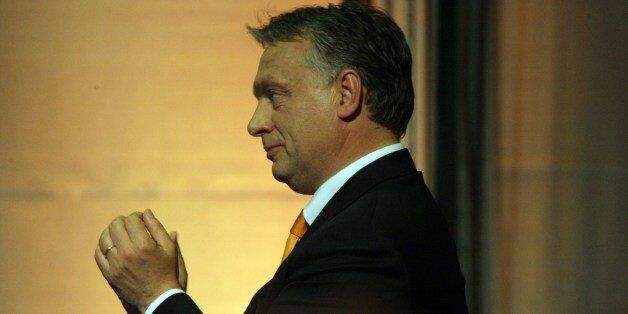 Hungarian Prime Minister Viktor Orban delivers his victory speech at the election party of the governing...