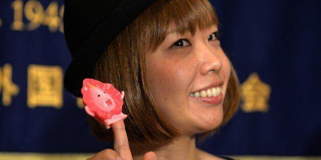 Japanese artist Megumi Igarashi, who calls herself Rokude Nashiko, shows a small mascot shaped like a...