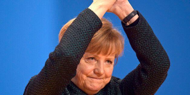 German Chancellor and chairwoman of the German Christian Democrats, CDU, Angela Merkel, thanks the delegates...