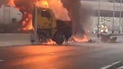 Ξέφυγε από 9.000 γαλόνια φλεγόμενα καύσιμα από το παρμπριζ του φορτηγού!