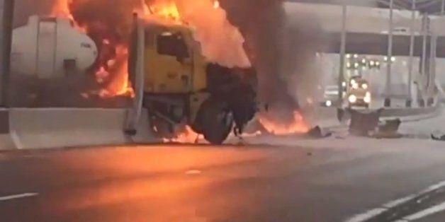 Ξέφυγε από 9.000 γαλόνια φλεγόμενα καύσιμα από το παρμπρίζ του φορτηγού!
