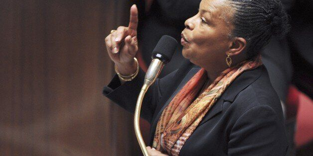 French Justice minister Christiane Taubira delivers a speech a session of questions to the Government,...