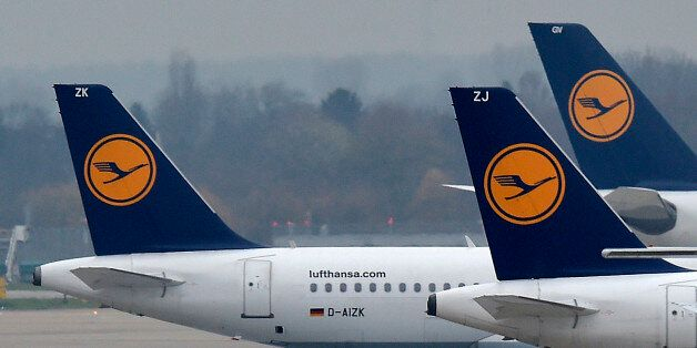 Lufthansa planes park at the airport in Duesseldorf, Germany, during a strike of Lufthansa pilots on...