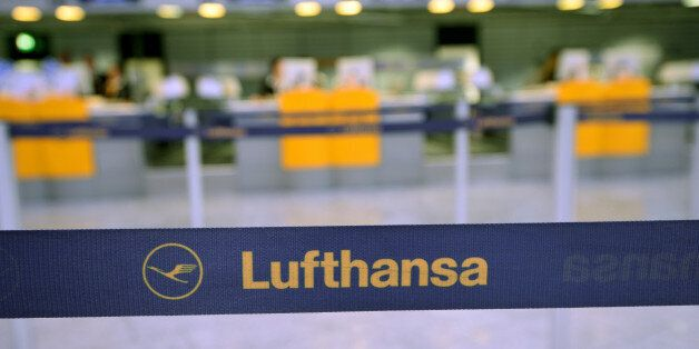FRANKFURT AM MAIN, GERMANY - OCTOBER 21: The logo of the airline Lufthansa pictured in front of the empty...