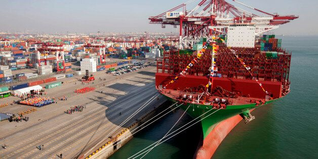 QINGDAO, CHINA - DECEMBER 04: (CHINA OUT) The maiden voyage ceremony of the world largest container ship...