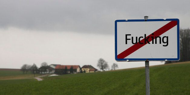 A road sign reads the name of the Austrian village 'Fucking' in western Austria on a cloudy day on January...