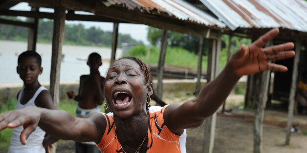 A resident of the Niger Delta village of Ayakoromo, who fled to the desperately poor village of Gbekebor...
