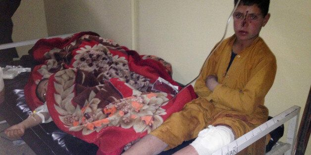 Afghan children are treated at Paktika hospital after suicide attack in the Yahyakhail district of Paktika...