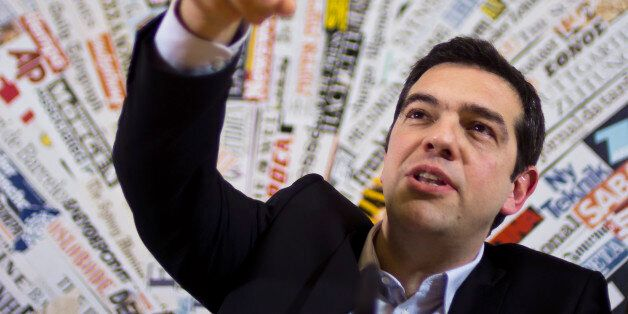 Greek left wing opposition leader Alexis Tsipras answers to a question during a press conference at the...