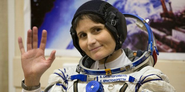 Italian astronaut Samantha Cristoforetti, crew member of the mission to the International Space Station,...
