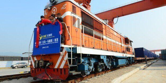 JINHUA, CHINA - NOVEMBER 18: (CHINA OUT) The inauguration ceremony of China-Europe Block Train (Yiwu-Madrid)...