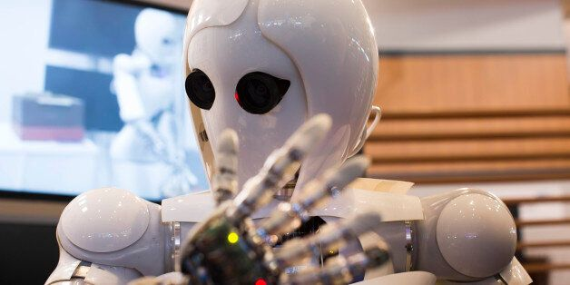 AILA, or Artificial Intelligence Lightweight Android, is pictured during a demonstration at the German...