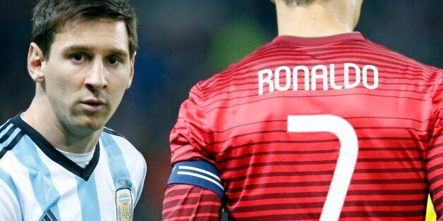 Lionel Messi of Argentina, left, stands next to Cristiano Ronaldo of Portugal before their International...