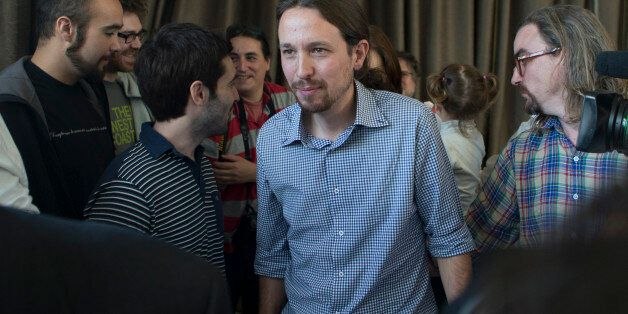FILE - In this May 30, 2014 file photo, Pablo Iglesias, the leader of the leftist Podemos (We Can) party,...