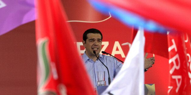 ATHENS, GREECE - MAY 22: Before the European Parliament election, Syriza party leader Alexis Tsipras...