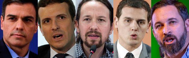 Pedro Sánchez, Pablo Casado, Pablo Iglesias, Albert Rivera y Santiago