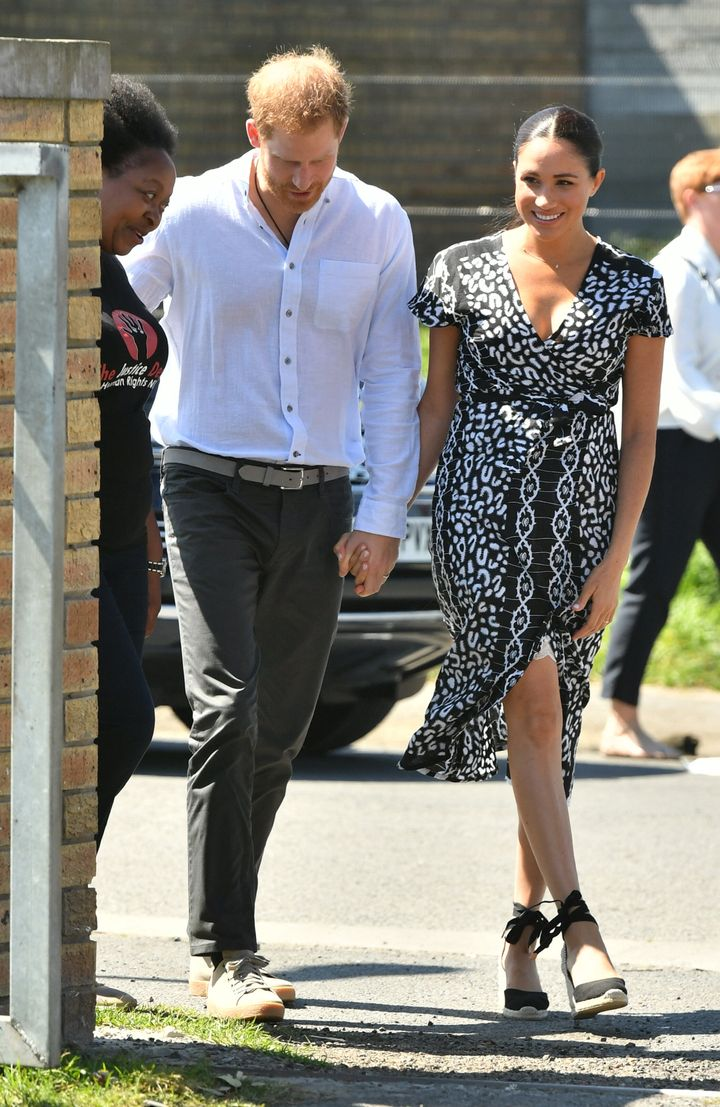 The Duke and Duchess of Sussex arrive at the Nyanga Township in Cape Town, South Africa, for a visit to a workshop that teach