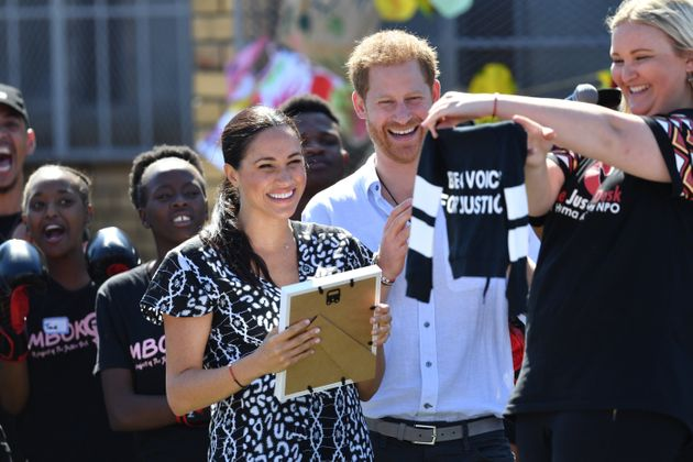 The Duke and Duchess of Sussex are presented with a gift for son