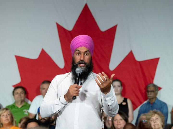 NDP Leader Jagmeet Singh speaks at a town hall meeting in Windsor, Ont., on Sept. 20, 2019.