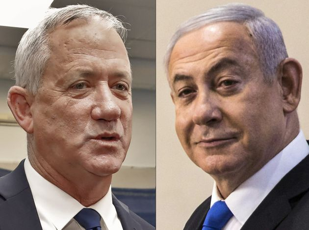 (COMBO) This combination picture created on September 18, 2019 shows Retired Israeli General Benny Gantz...