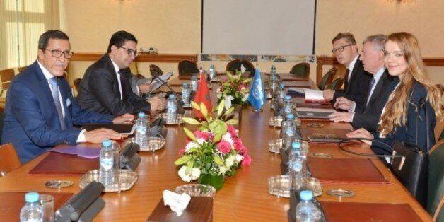 Le ministre des Affaires étrangères Nasser Bourita, accompagné de Omar Hilale, représentant permanent...