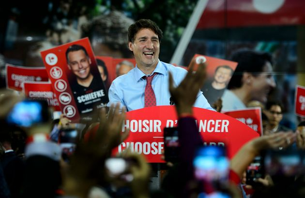Liberal Leader Justin Trudeau attends a rally in Montreal, Que., on Sept. 13,