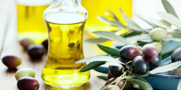 olive oil on wooden
