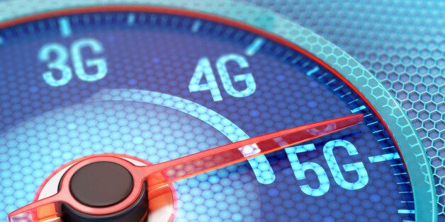 Ultrafast 5G wireless network on display of speedometer. 3D